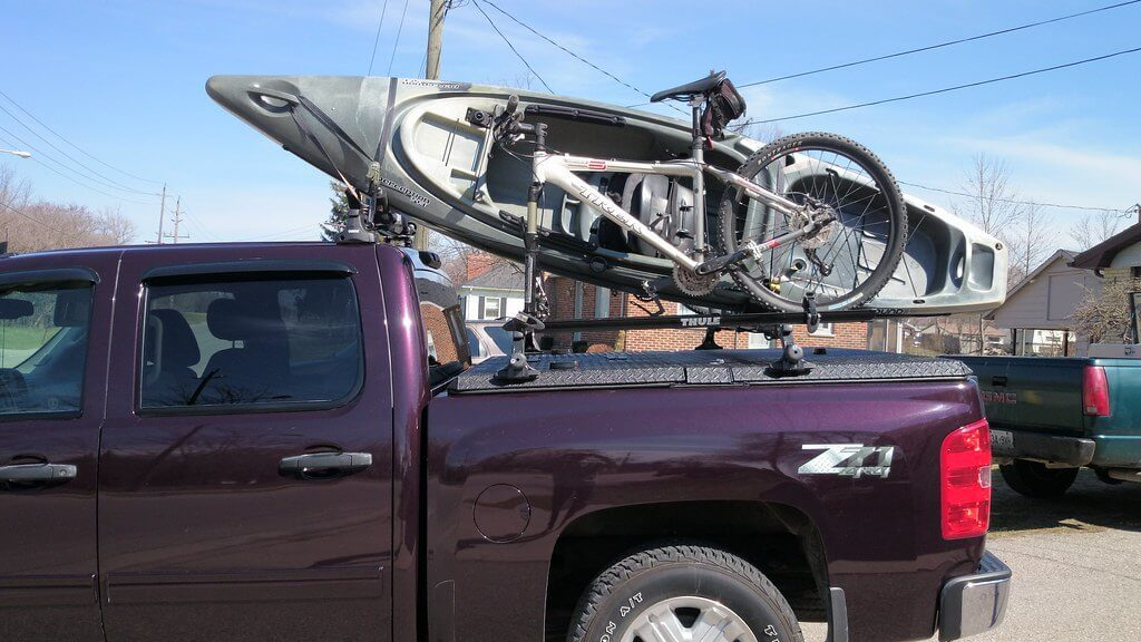 truck transporting bike with bike rack