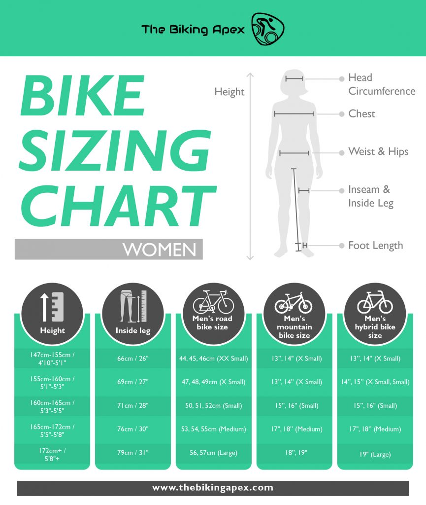 bike sizing chart women